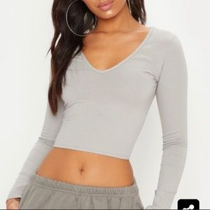 Pretty Little Thing gray crop top!